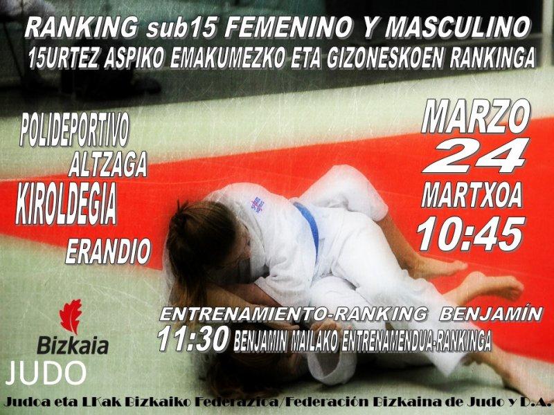 RANKING SUB15 INFANTIL FEMENINO Y MASCULINO